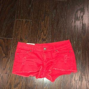 1st Kiss Red Denim Shorts